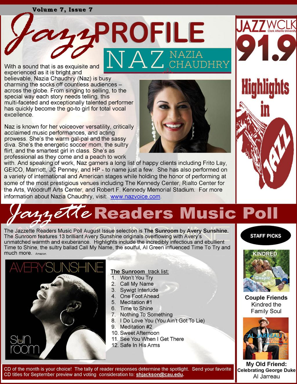 Nazia Chaudhry - Featured Artist - Wclk Jazzette Aug 2014