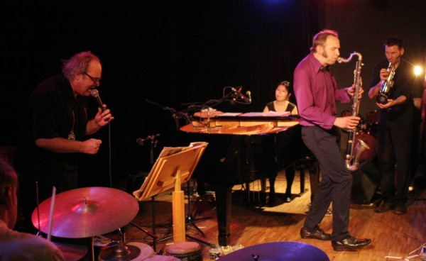 "Paul Lovens, Eugene Chadbourne, Aki Takase, Rudi Mahall and Thomas Heberer with ""Aki Takase Plays Fats Waller"" at Amr, Sud Des A"