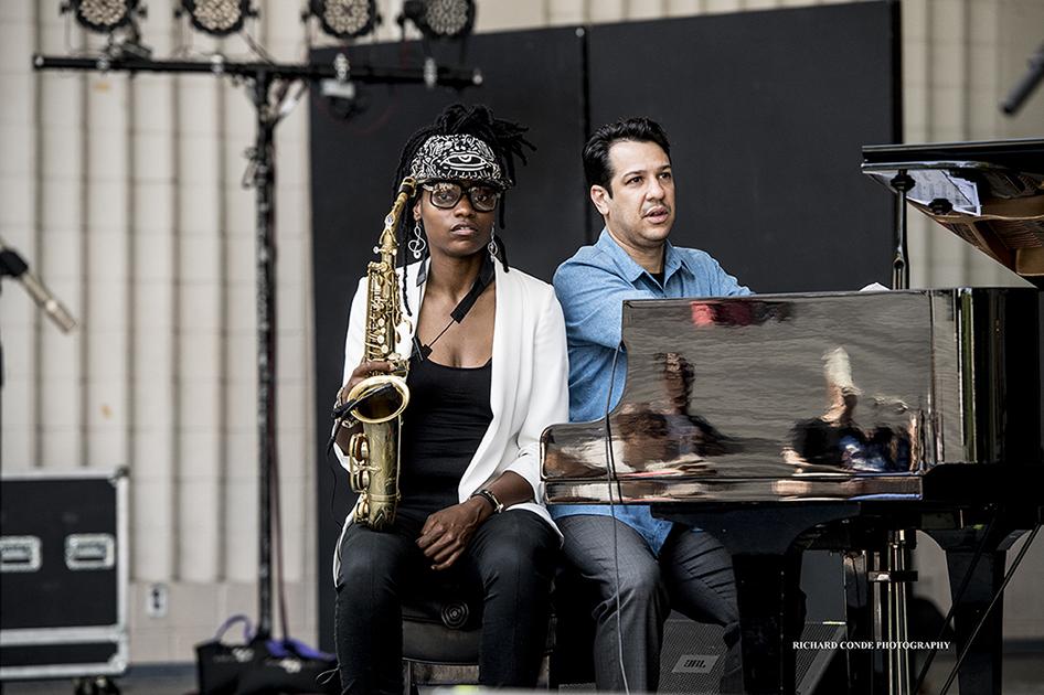 Lakecia Benjamin and Oscar Perez at the 2017 Charlie Parker Jazz Festival