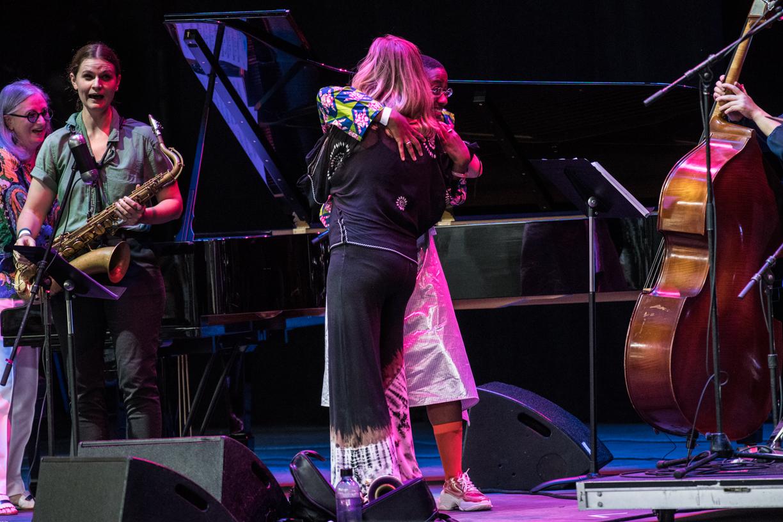 Cecile McLorin Salvant and Ingrid Jensen at the 2021 Freihofer's Saratoga Jazz Festival