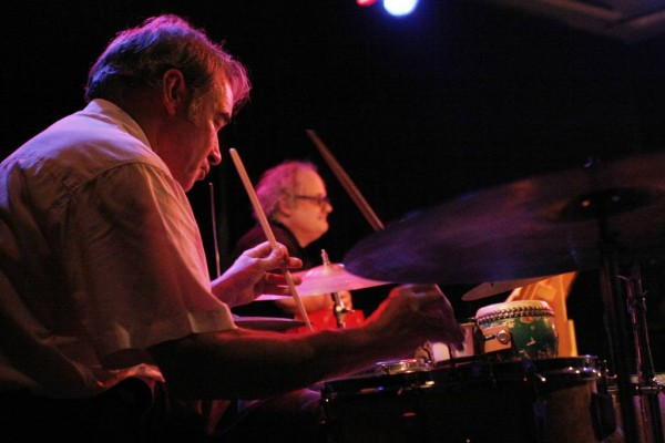"""Paul Lovens and Eugene Chadbourne with """"Aki Takase Plays Fats Waller"""" at Amr, Sud Des Alpes, Geneva, Switzerland,2005"""