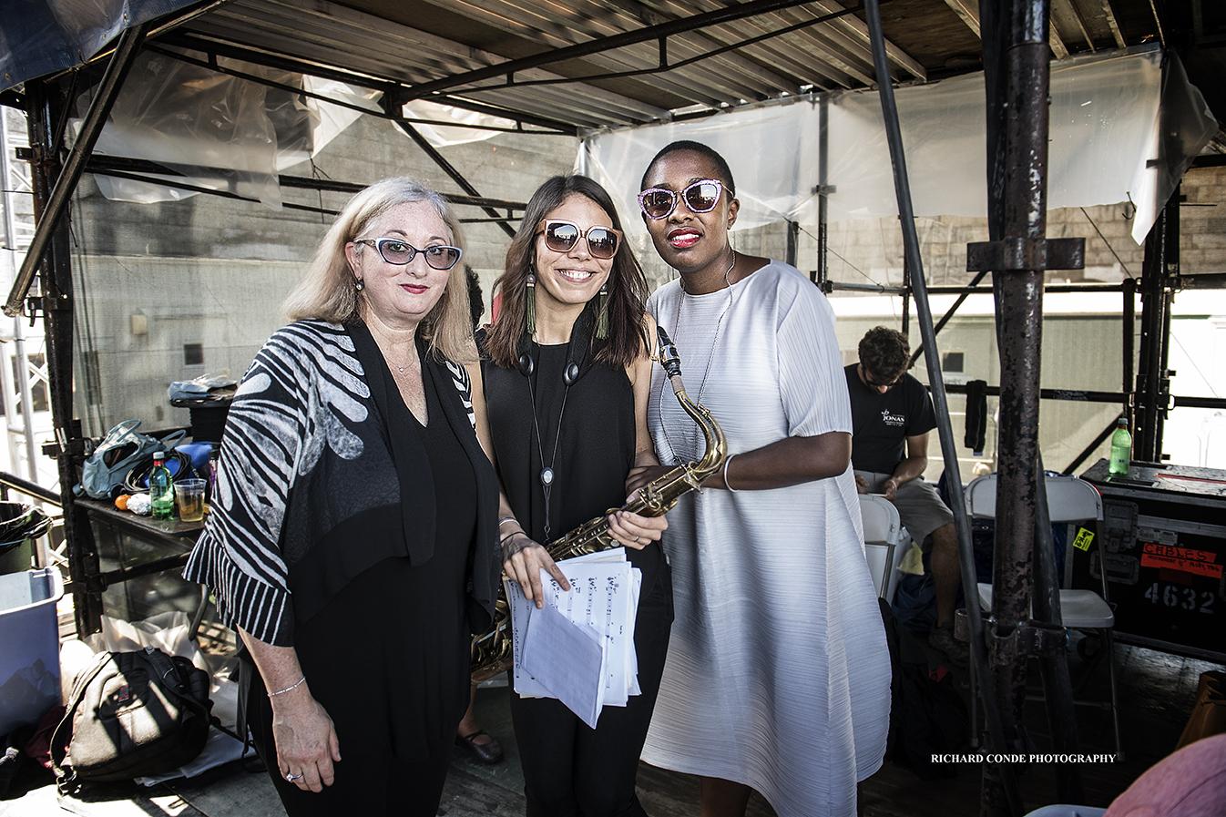 Renee Rosnes Melissa Aldana and Cecile McLorin Salvant at the 2018 Newport Jazz Festival