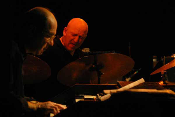 "Dan Wall and Adam Nussbaum with the ""John Abercrombie Organ Trio"" at Amr, Sud Des Alpes, Geneva, Switzerland, 2004"