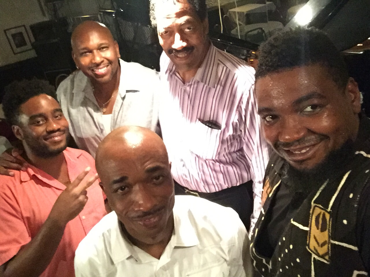 Kenneth Cobb (2nd from R) with (L-R) David Bryant, Abraham Burton, Eric McPherson, Dezron Douglas