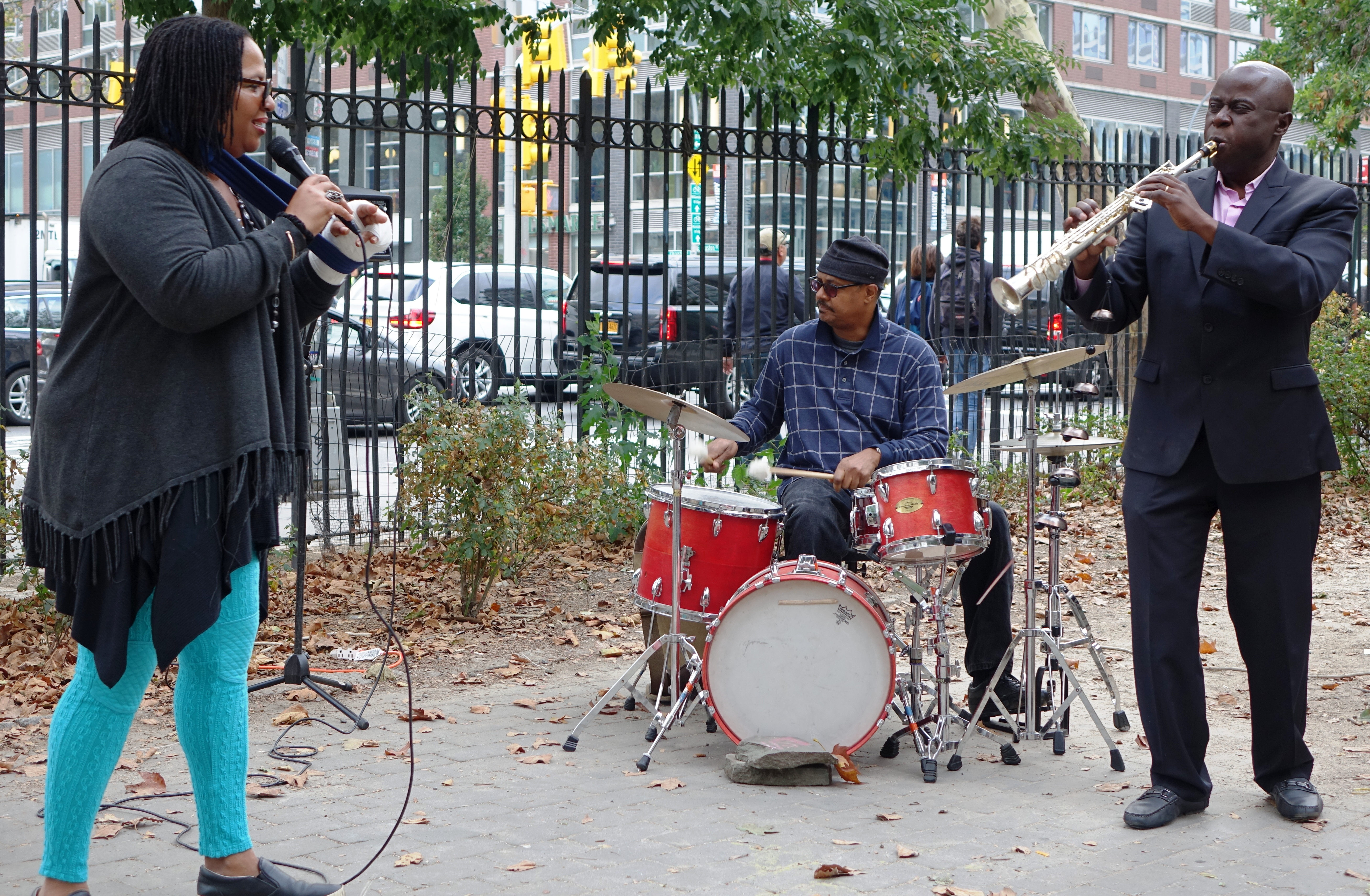 Fay Victor, Reggie Nicholson and Sam Newsome at First Street Green, NYC in September 2017