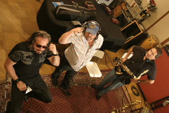 Ltor Tony Adamo,Mic Gillette,Tom Politzer-Adamo Recording a Cover of a Tower of Power Song