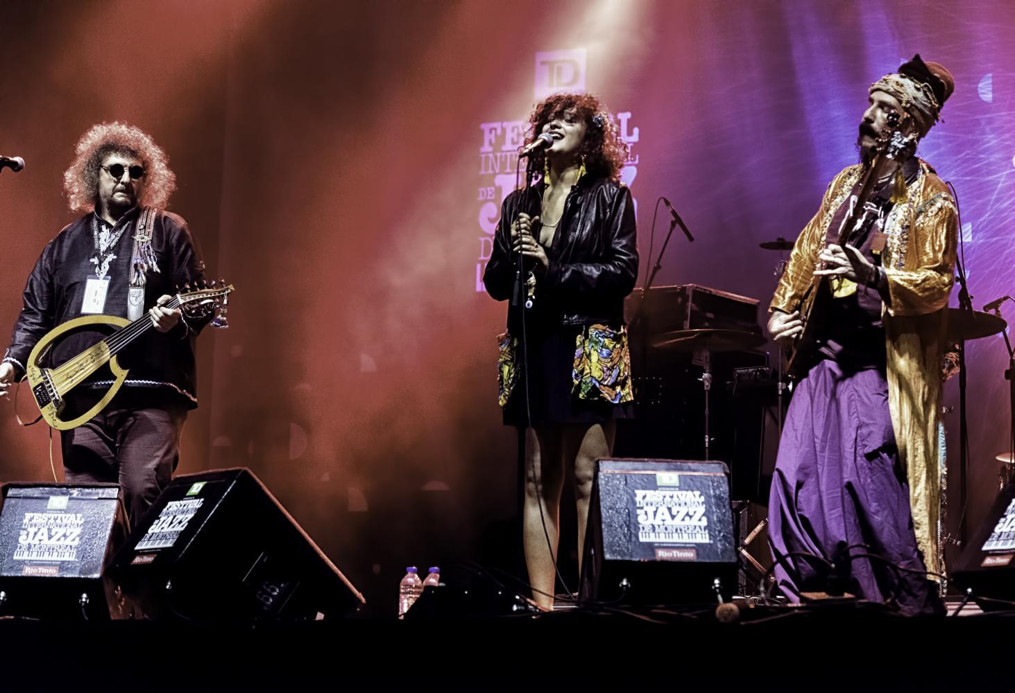 Periklis Tsouklas, Melike Sahin and Murat Ertel with BaBa Zula At The Montreal International Jazz Festival 2016