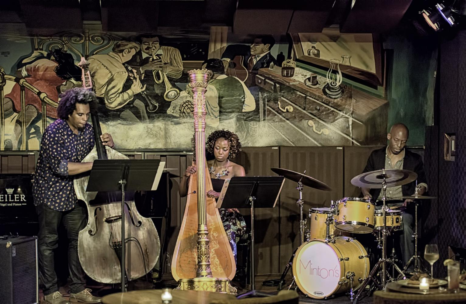 Rashaan Carter, Brandee Younger and E.J. Strickland at Minton's in Harlem