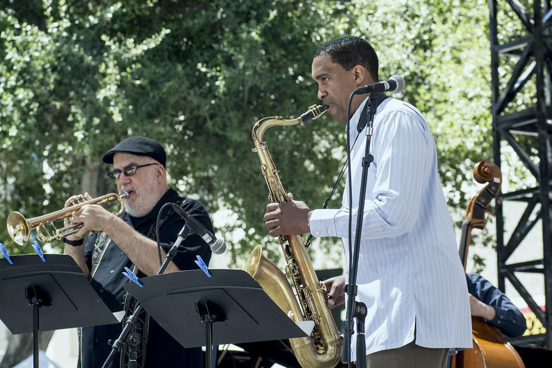 Randy Brecker, Javon Jackson at San Jose Jazz Summer Fest 2017