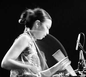 Susie Ibarra with Septeto Roberto Juan Rodriguez @ Jazzsaalfelden Festival 2002, August 25, 2002.