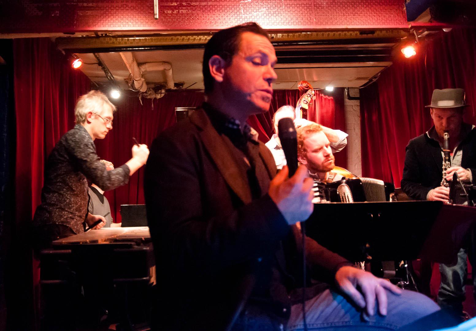 Matt Moran, Kurt Elling, Red Wieringa, Drew Gress and Chris Speed with the Claudia Quintet at the Cornelia Street Cafe