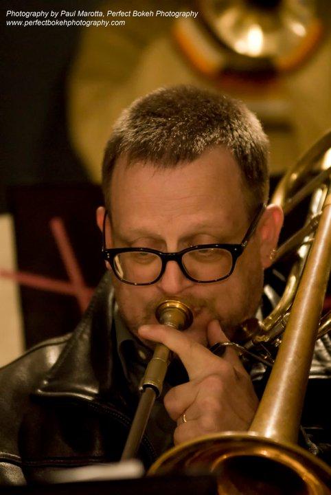 David B Harris leather and trombone