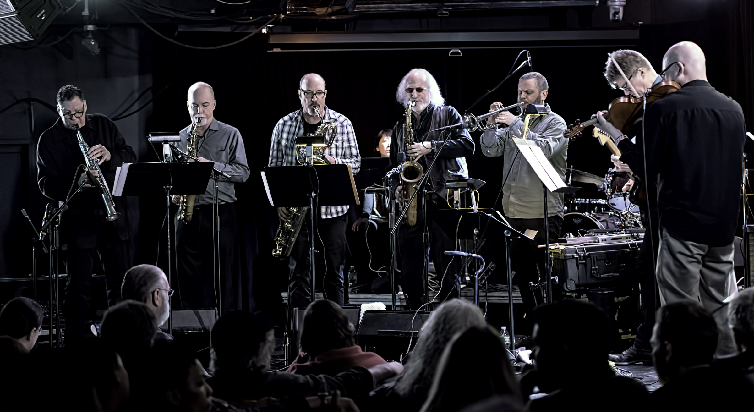 Bruce Ackley, Steve Adams, Jon Raskin, Larry Ochs, Nate Wooley, Nels Cline, Jason Kao Hwang with Rova's Electric Ascension at the NYC Winter Jazzfest 2016