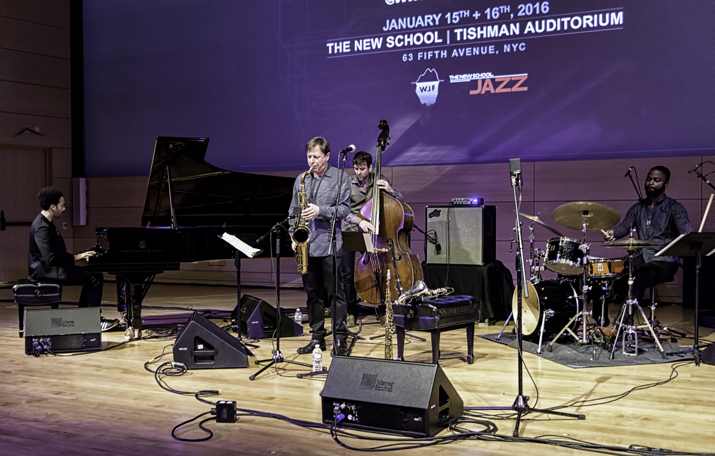 David Virelles, Chris Potter, Joe Martin and Marcus Gilmore with Chris Potter Quartet At The NYC Winter Jazzfest 2016