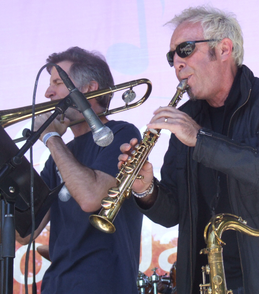 Jeb Bishop (l) and Mars Williams with Paul Giallorenzo's GitGo at 2010 Chicago Jazz Festival