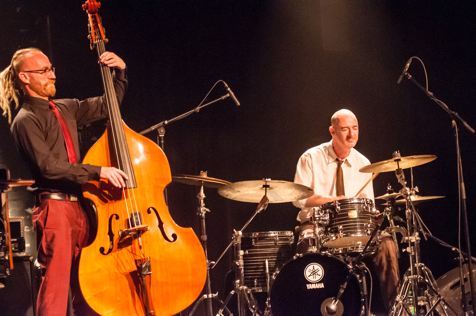 Rex Horan and Evan Jenkinswith the Neil Cowley Trio at the Montreal International Jazz Festival 2012