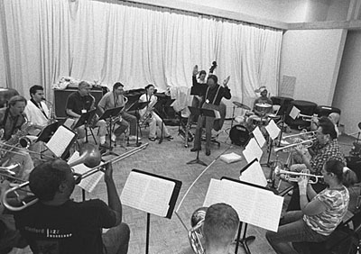 Sam Rivers Big Band, August 8, 2001 in Rehearsal for the Debut Performance of New Compositions at the Stanford Jazz Festival.