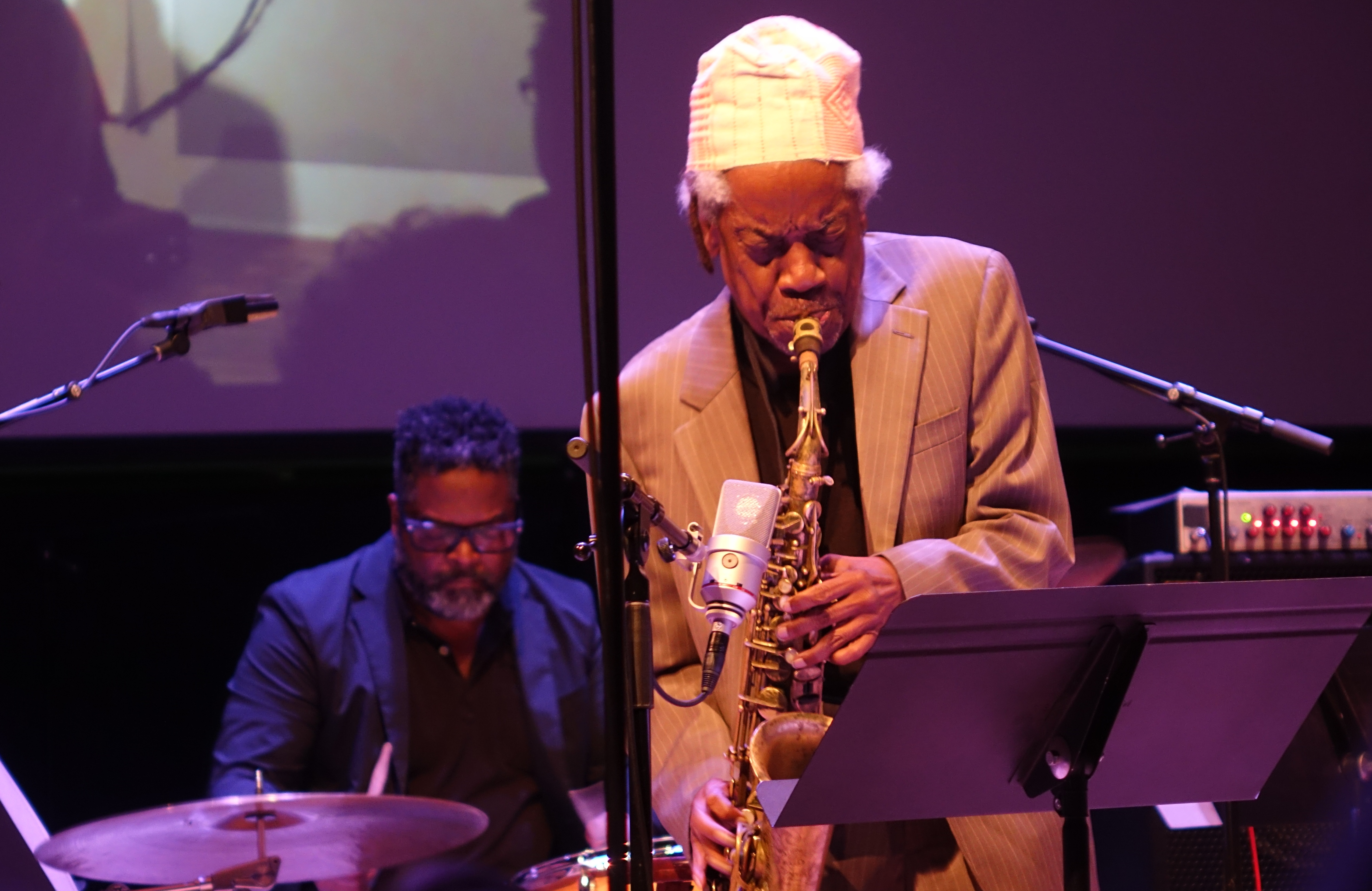 Gerald Cleaver and Jemeel Moondoc at the Vision Festival in Roulette, Brooklyn in June 2019