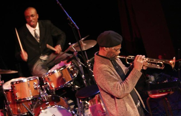 "Charles Tolliver and Eric McPherson with the ""Andrew Hill Quintet"" at the Amr Jazz Festival, Alhambra, Geneva, Switzerland, Apri"