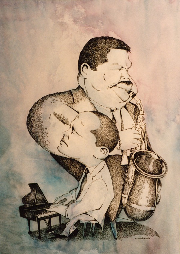 Bud Powell/Cannonball Ederly, Framed, 28x20'', Watercolor/Ink, $400
