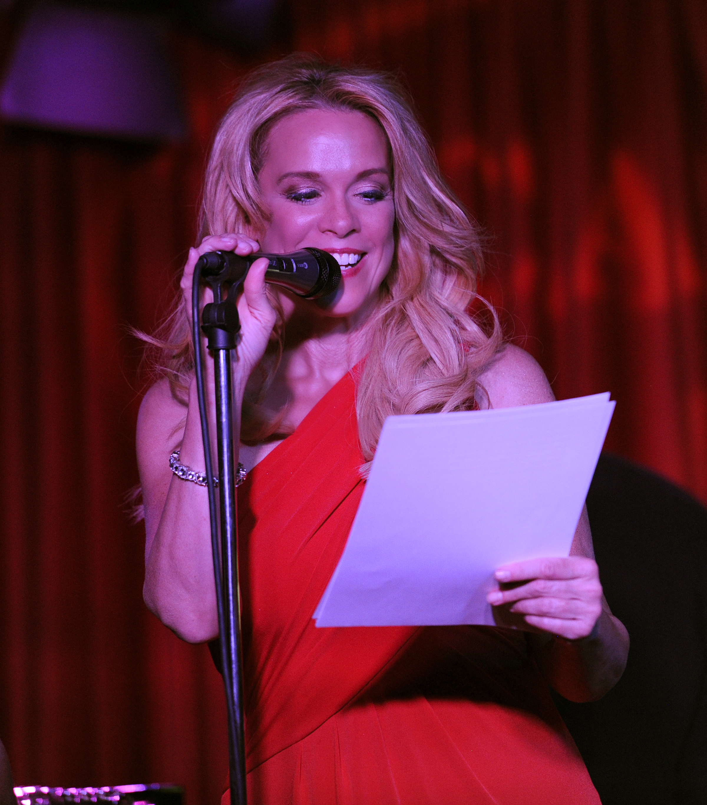 Emcee Chase Masterson at Kaylene Peoples's and Bunny Brunel's cd Release Concert