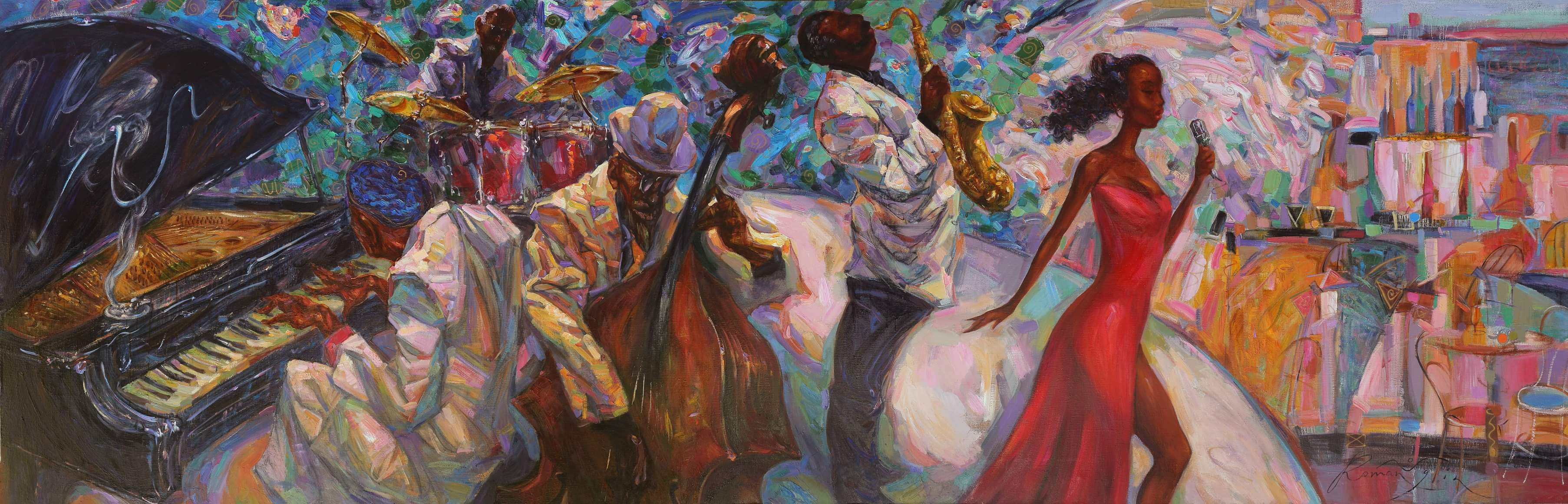 NEW ORLEANS JAZZ. 100X300 cm. oil on canvas. artist ROMAN NOGIN