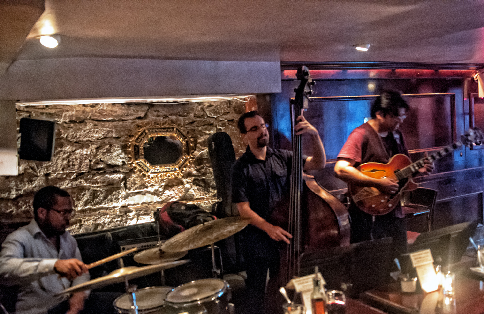 Russell Carter, Thomas Kneeland and Rez Abbasi at the Bar Next Door in New York City