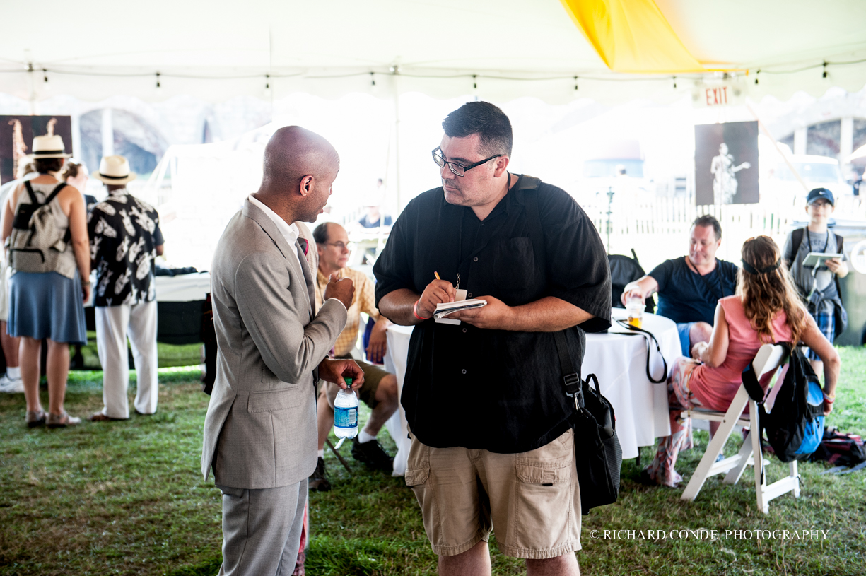 Aaron  Diehl and Tim Okeefe at the 2015 Newport Jazz Festival