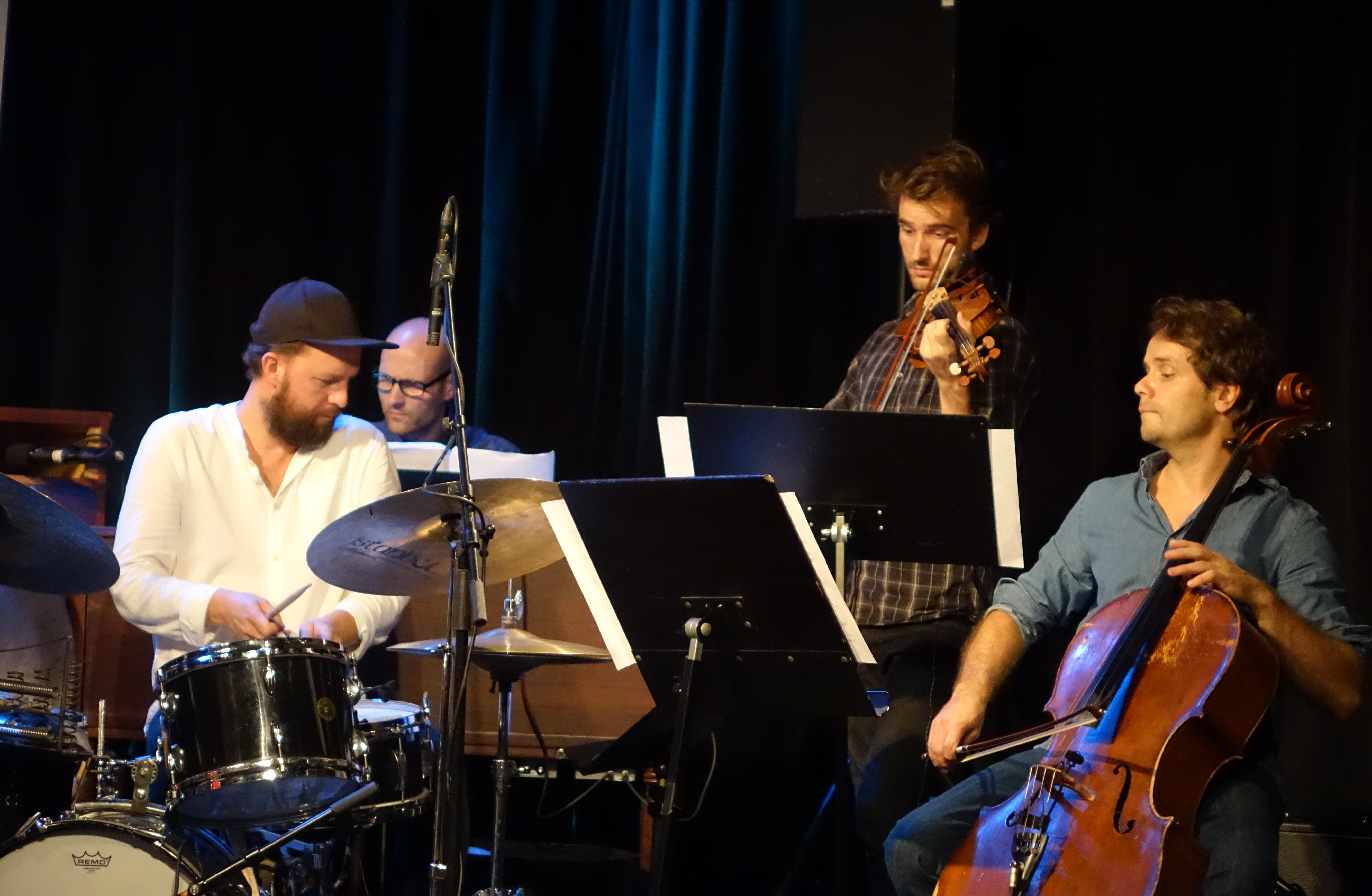 Gard Nilssen, Daniel Formo, Adrian Løseth Waade and Øyvind Engen at Nasjonal Jazzscene Victoria, Oslo in August 2018