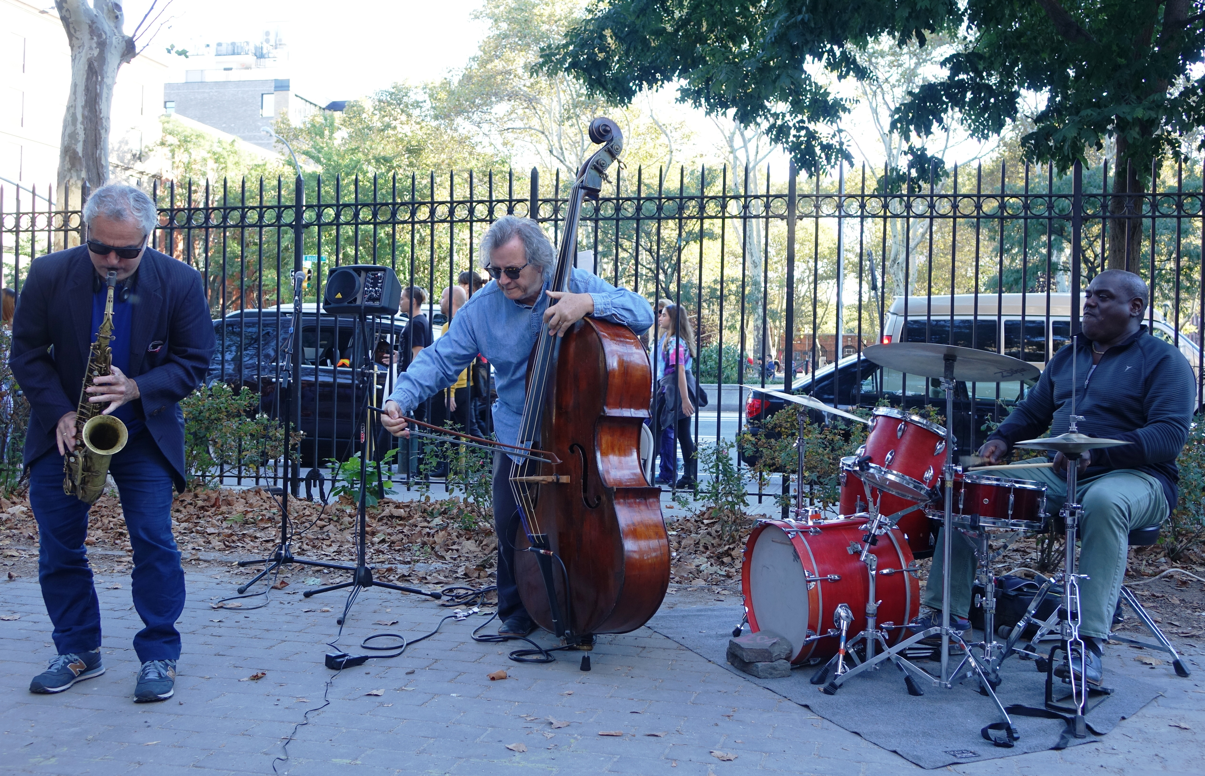 Avram Fefer, Michael Bisio and Michael Wimberly at First Street Green, NYC in October 2017