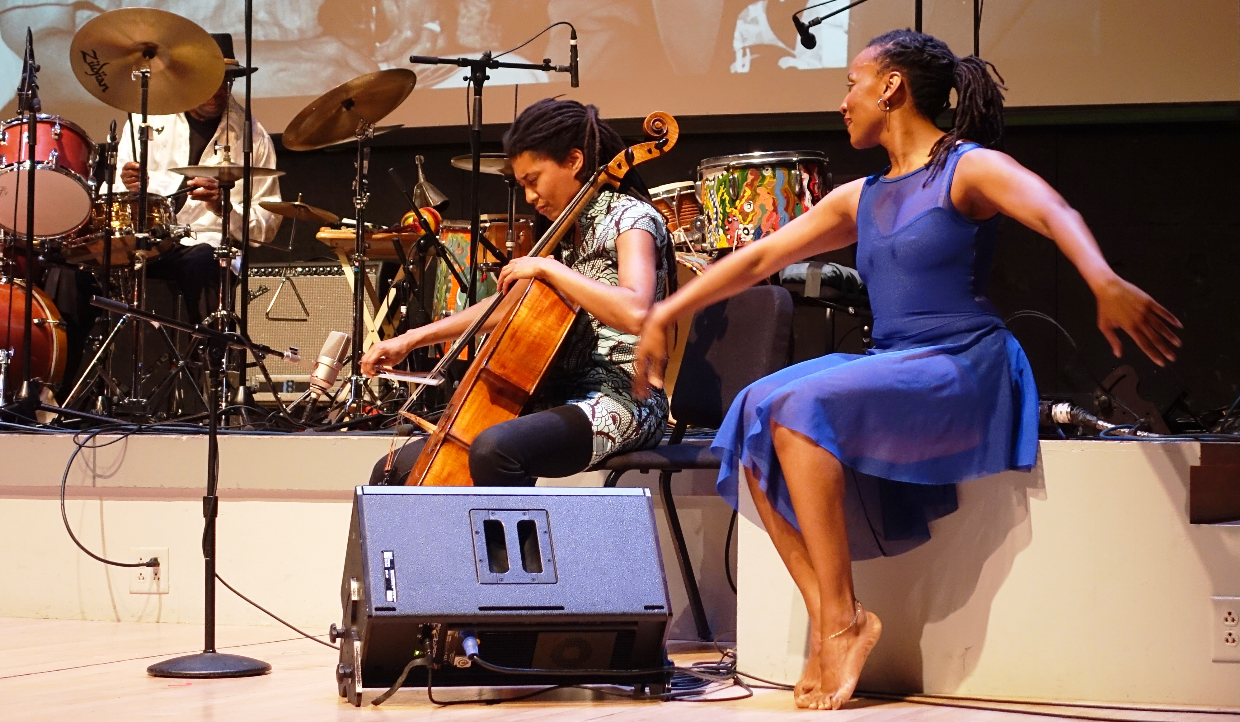 Andrew Cyrille, Tomeka Reid and Beatrice Capote at the Vision Festival in Roulette, Brooklyn in June 2019