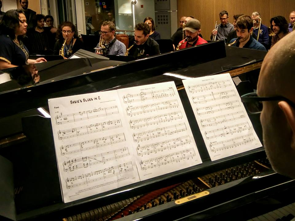 Rehearsal with the Paris College of Music bigband