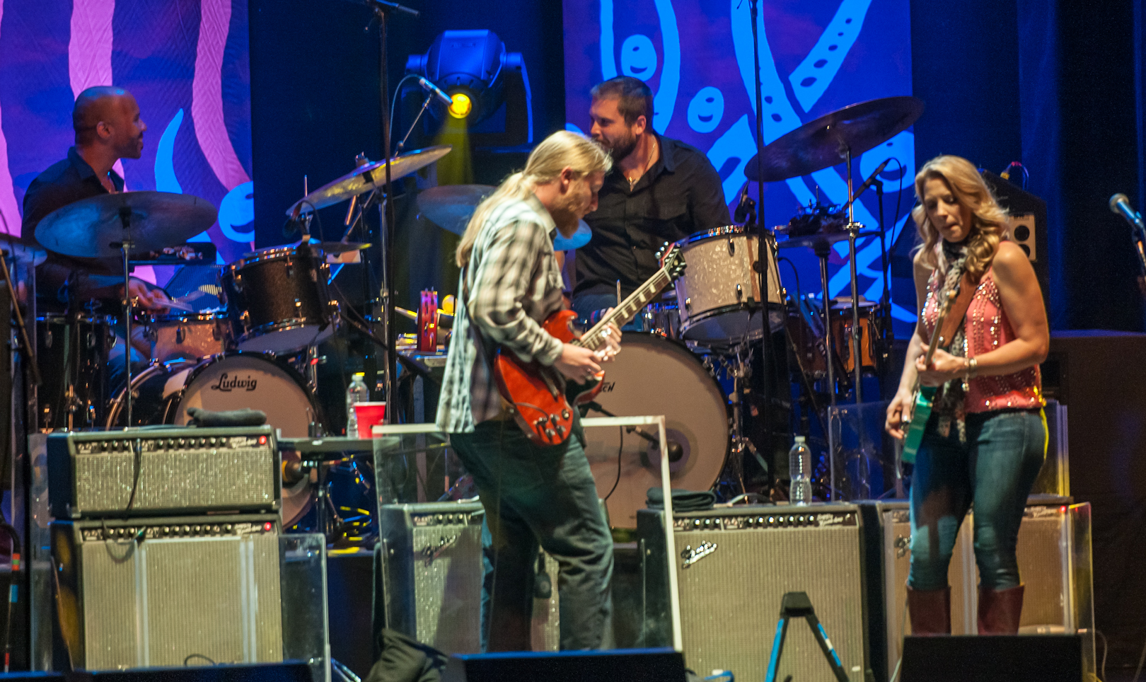 Derek Trucks, Susan Tedeschi, J.J. Johnson and Tyler Greenwell with the Tedeschi Trucks Band at the Beacon