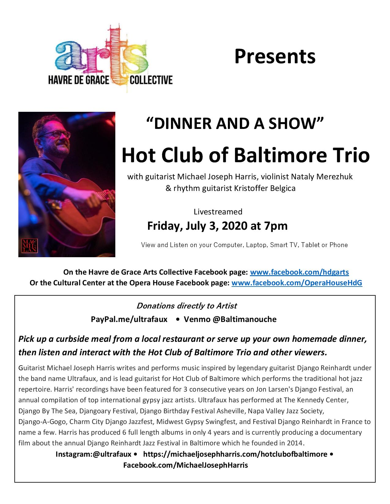 Dinner And A Show With The Hot Club Of Baltimore Trio