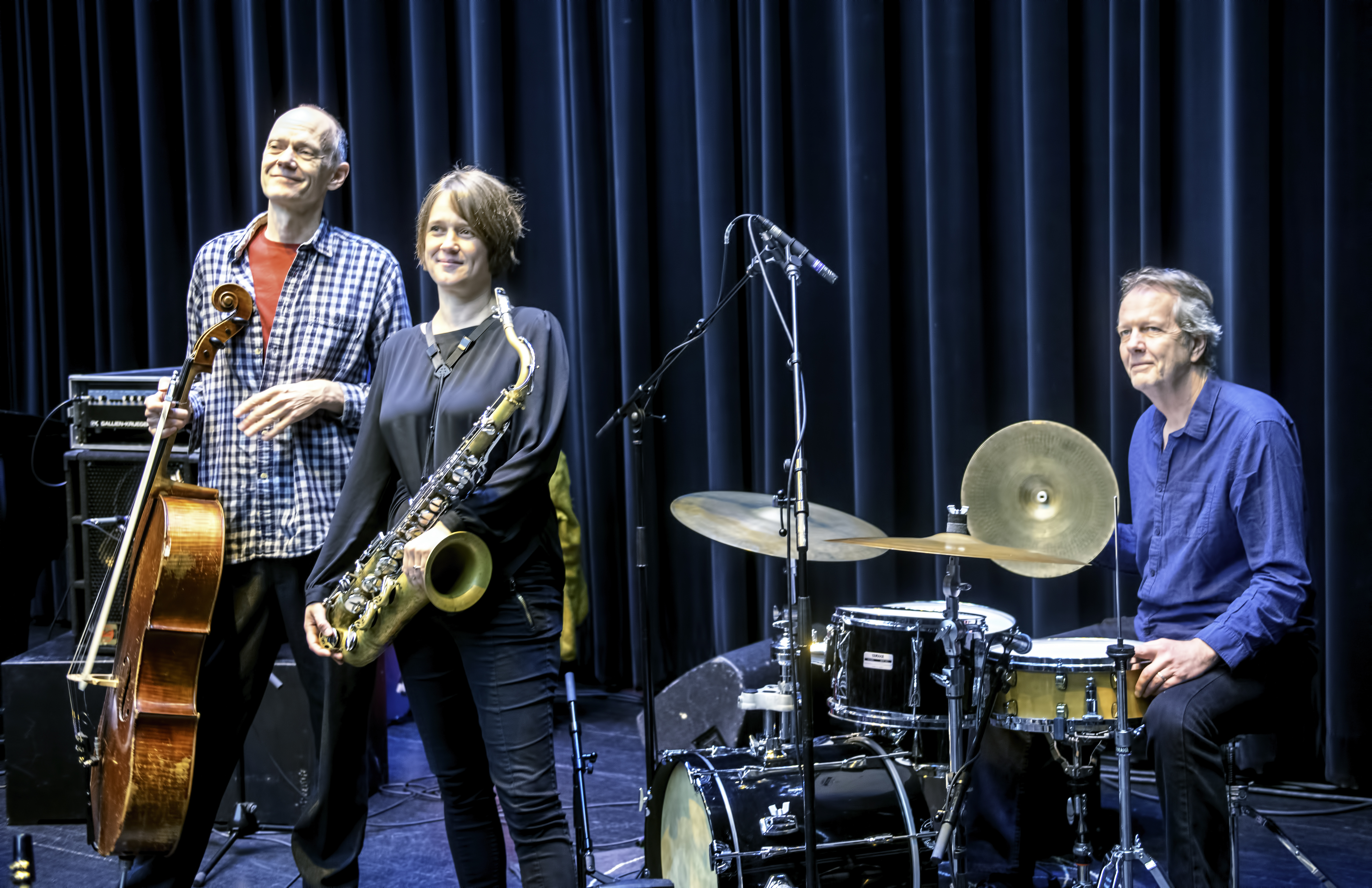 Hank Roberts, Ingrid Laubrock and Tom Rainey at the Guelph Jazz Festival 2019