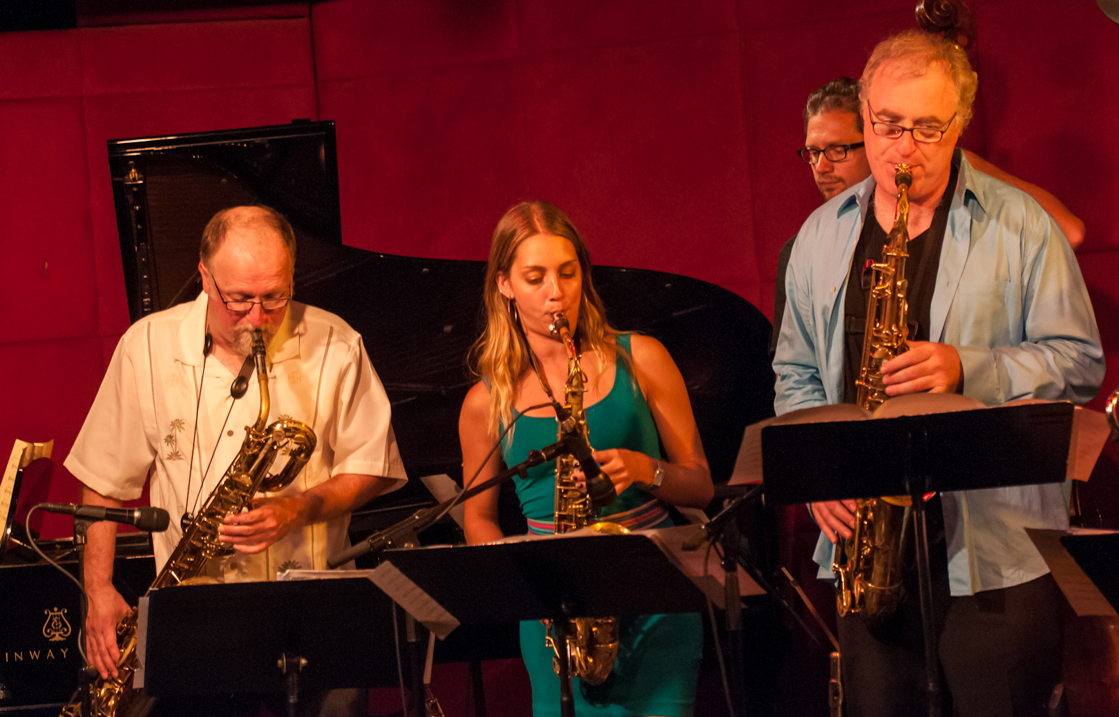 Charlie Kohlhase, Hailey Niswanger and Russ Gershon with the Either/Orchestra at the Jazz Standard