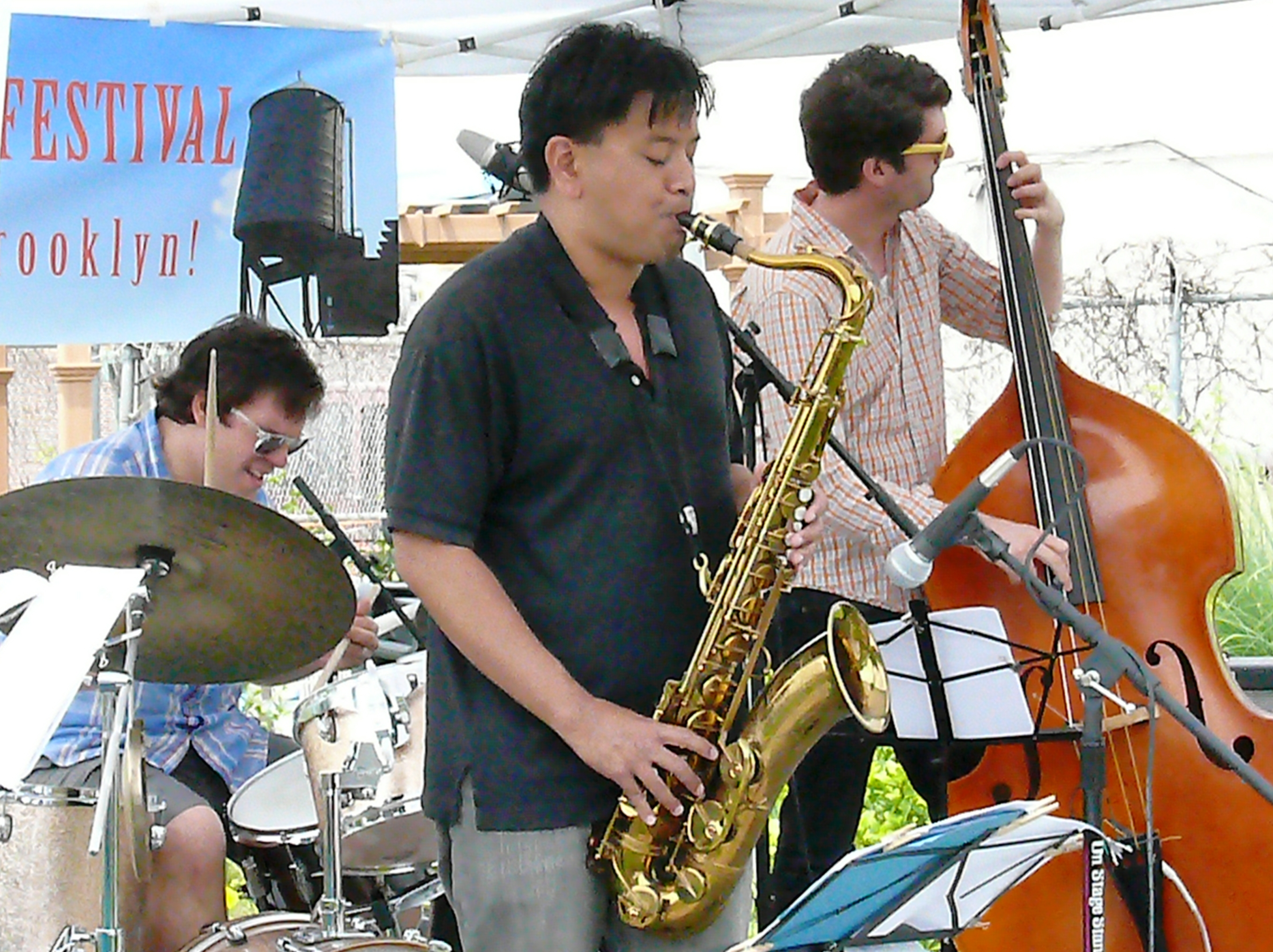 Mike pride, jon irabagon and peter bitenc at red hook jazz festival, new york in june 2013