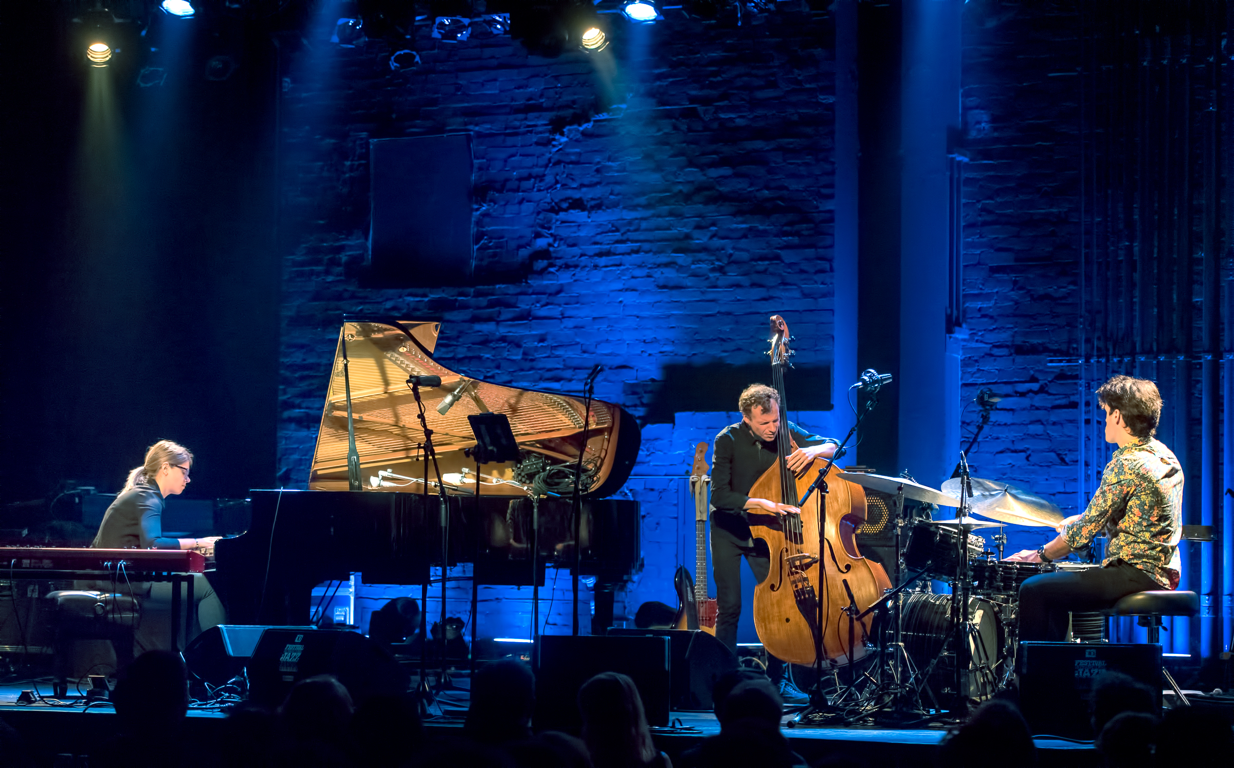 Emie Rioux-Roussel, Nicolas Bedard and Dominic Cloutier with the Emie Rioux-Roussel Trio at The Montreal International Jazz Festival 2018