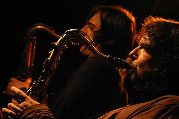 "Emmanuele Cisi and Francesco Berzatti with ""Aldo Romano - Because of Bechet"" at Amr, Sud Des Alpes, Geneva, Switzerland, 2005"