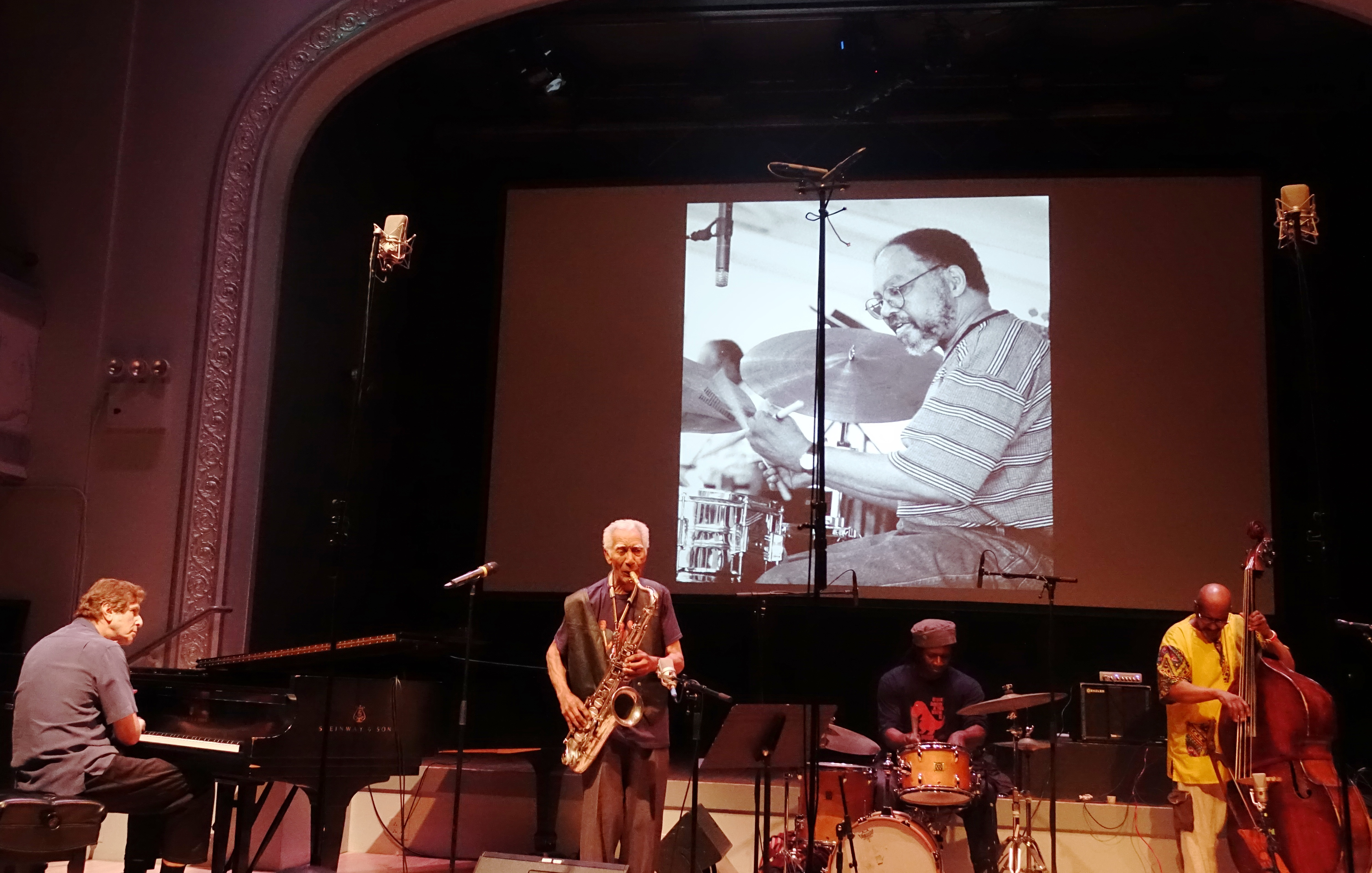 Joel Futterman, Kidd Jordan, Hamid Drake and William Parker at the Vision Festival in Roulette, Brooklyn in June 2019