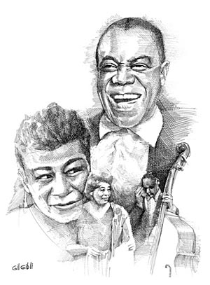 """Cross Hatch Drawing of Louis Armstrong and Ella Fitzgerald 14""""X11"""""""