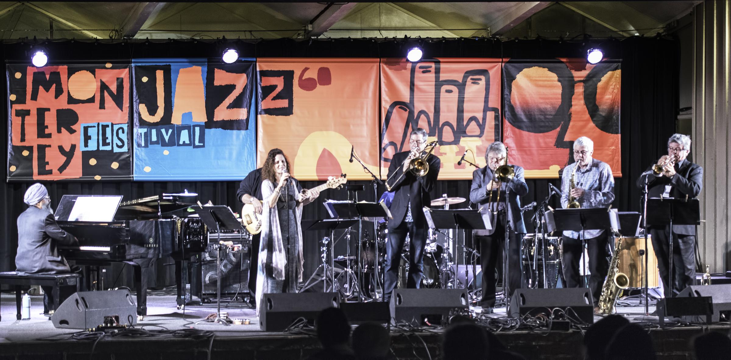 Jasnam Daya Singh, Sandy Cressman,  Jeff Cressman, Rodger Fox, Harvey Weinapel and Jon Papenbrook with Sandy Cressman Entre Amigos at the Monterey Jazz Festival