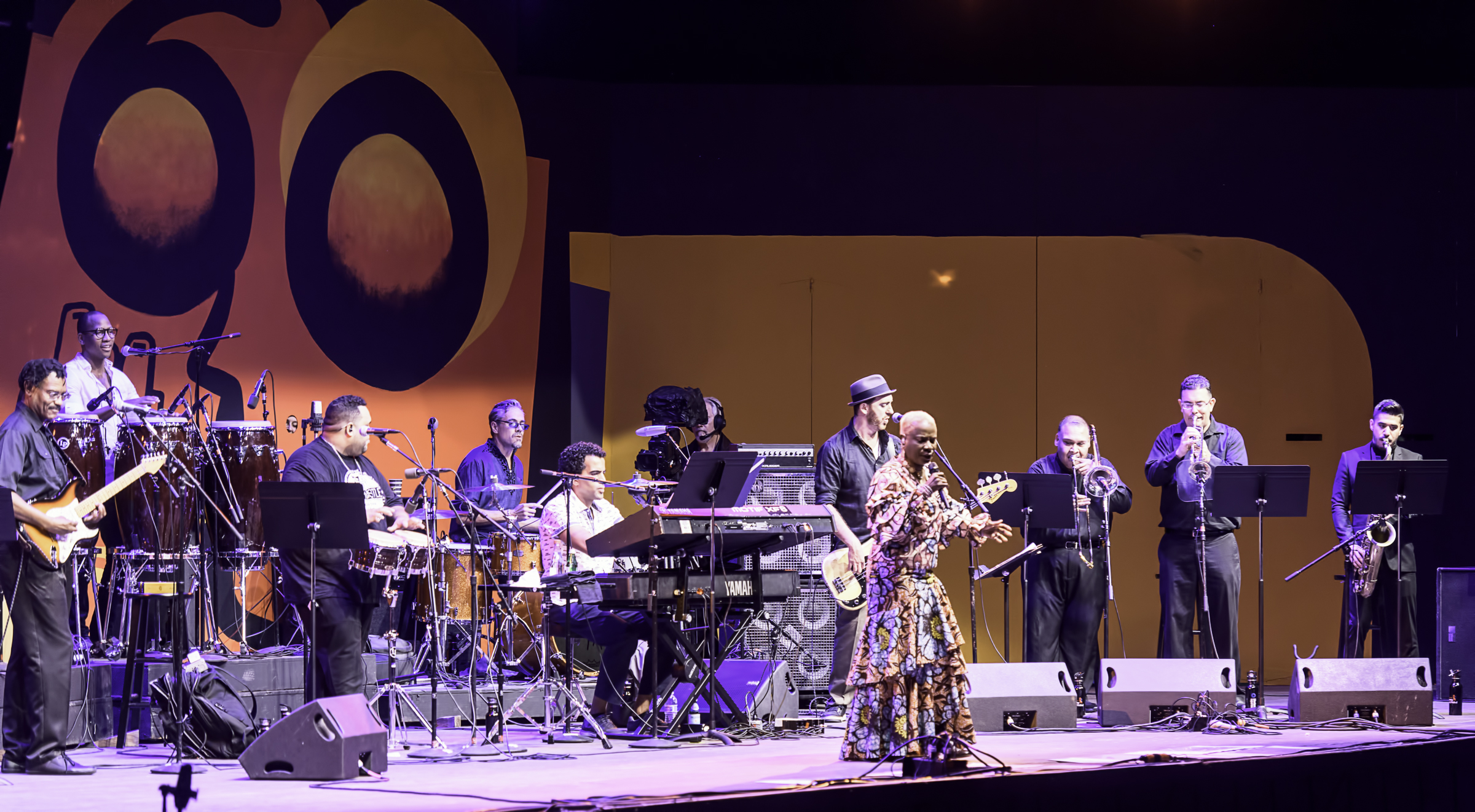 Dominic James, Jhair Sala, Edgardo Yaya Serka, Edgar Pantoja, Pedrito Martinez, Ben Zwerin, Humberto Ruiz, Brian Beukelman and Fabian Chavez with Angelique Kidjo's Tribute to Salsa at the Monterey Jazz Festival