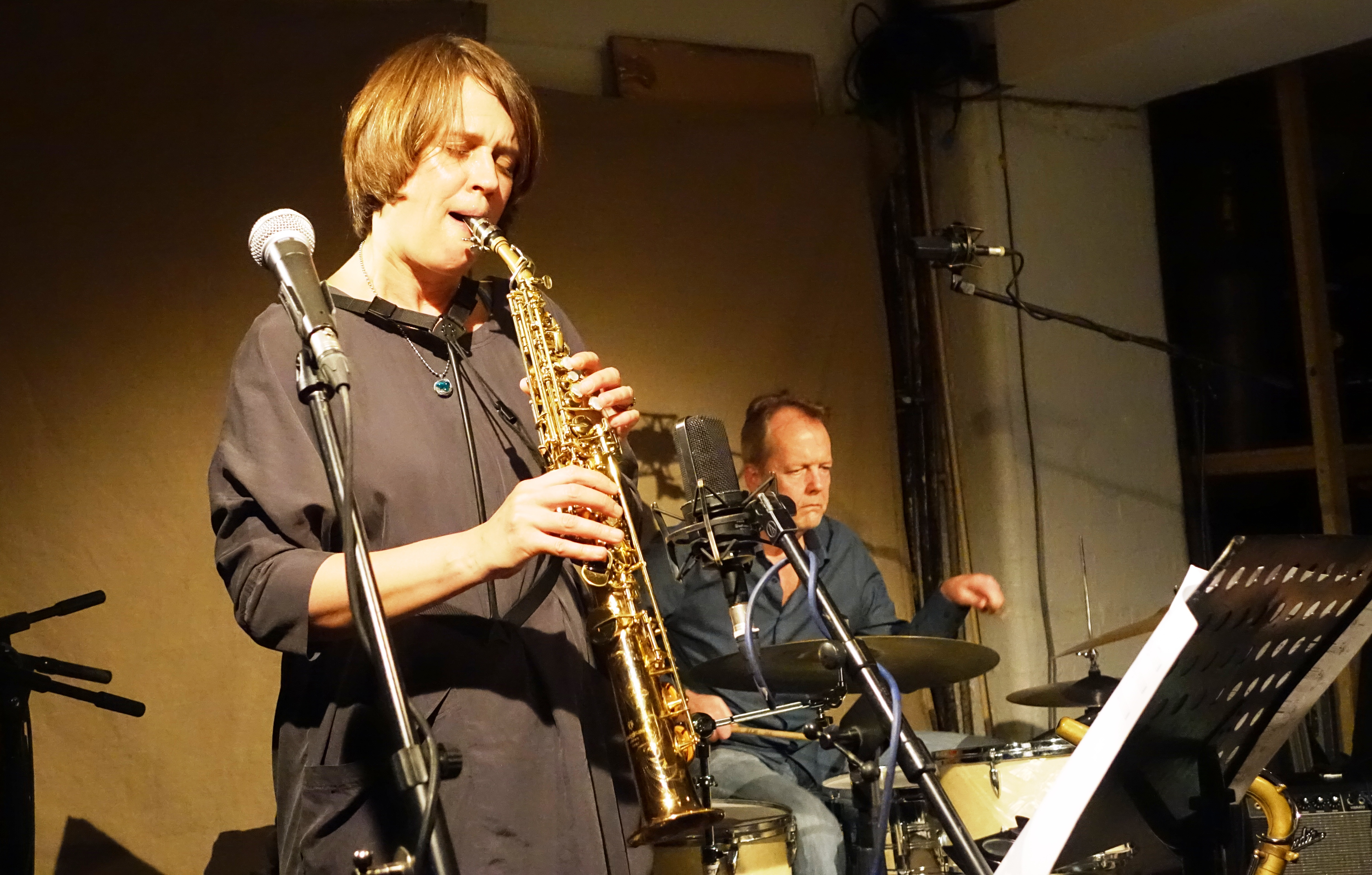 Ingrid Laubrock and Tom Rainey at Cafe Oto, London in May 2018