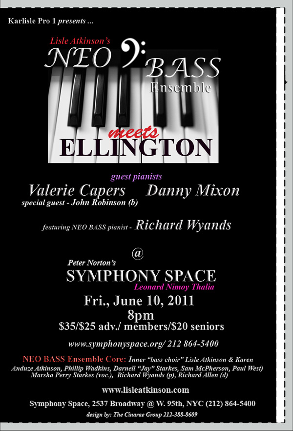 Lisle Atkinson's Neo Bass Meets Ellington @ Symphony Space, Fri., June 10, 2011