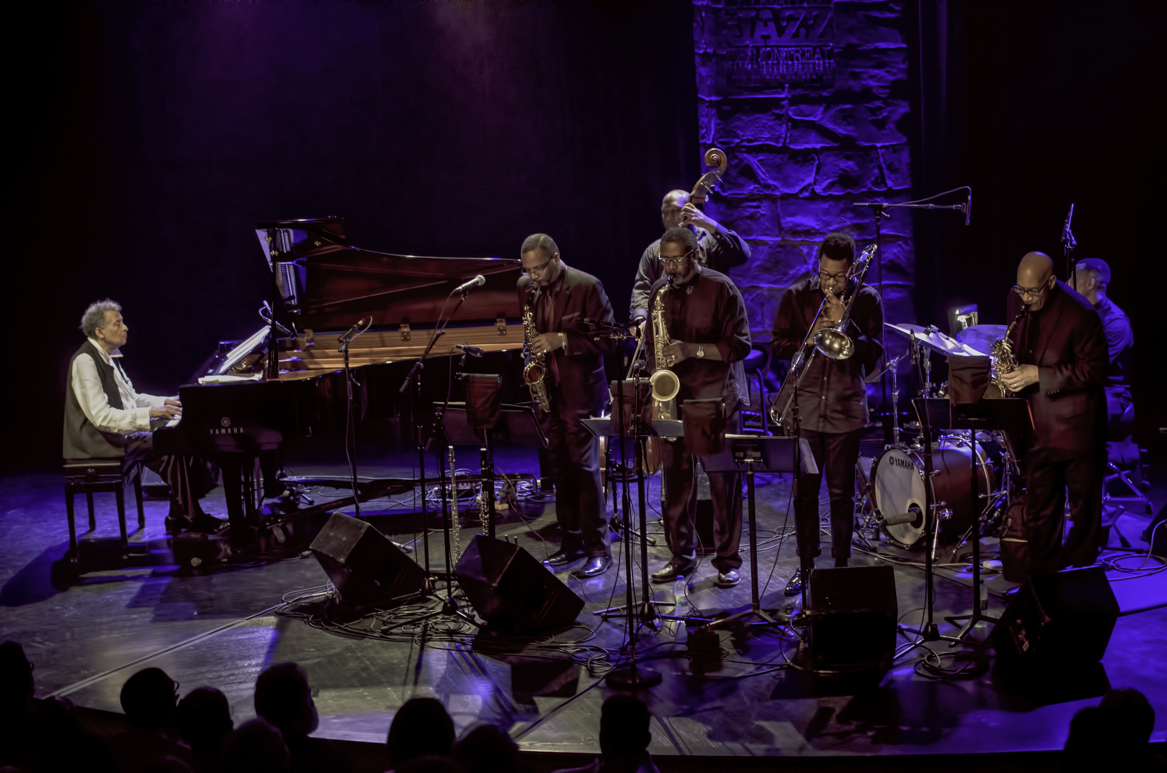 Abdullah Ibrahim, Cleave Guyton, Lance Bryant, Noah Jackson, Andrae Murchison, Marshall McDonald and Will Terrell with Ekaya at the Montreal Jazz Festival 2015