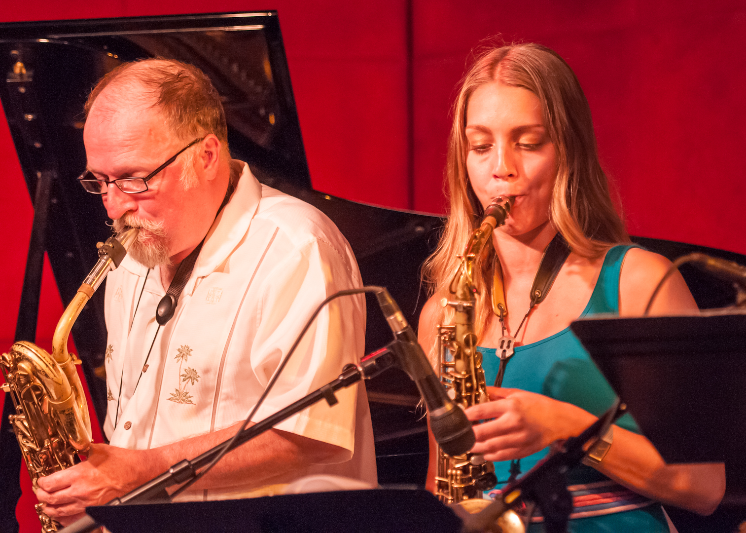 Charlie Kohlhase and Hailey Niswanger with the Either/Orchestra at the Jazz Standard