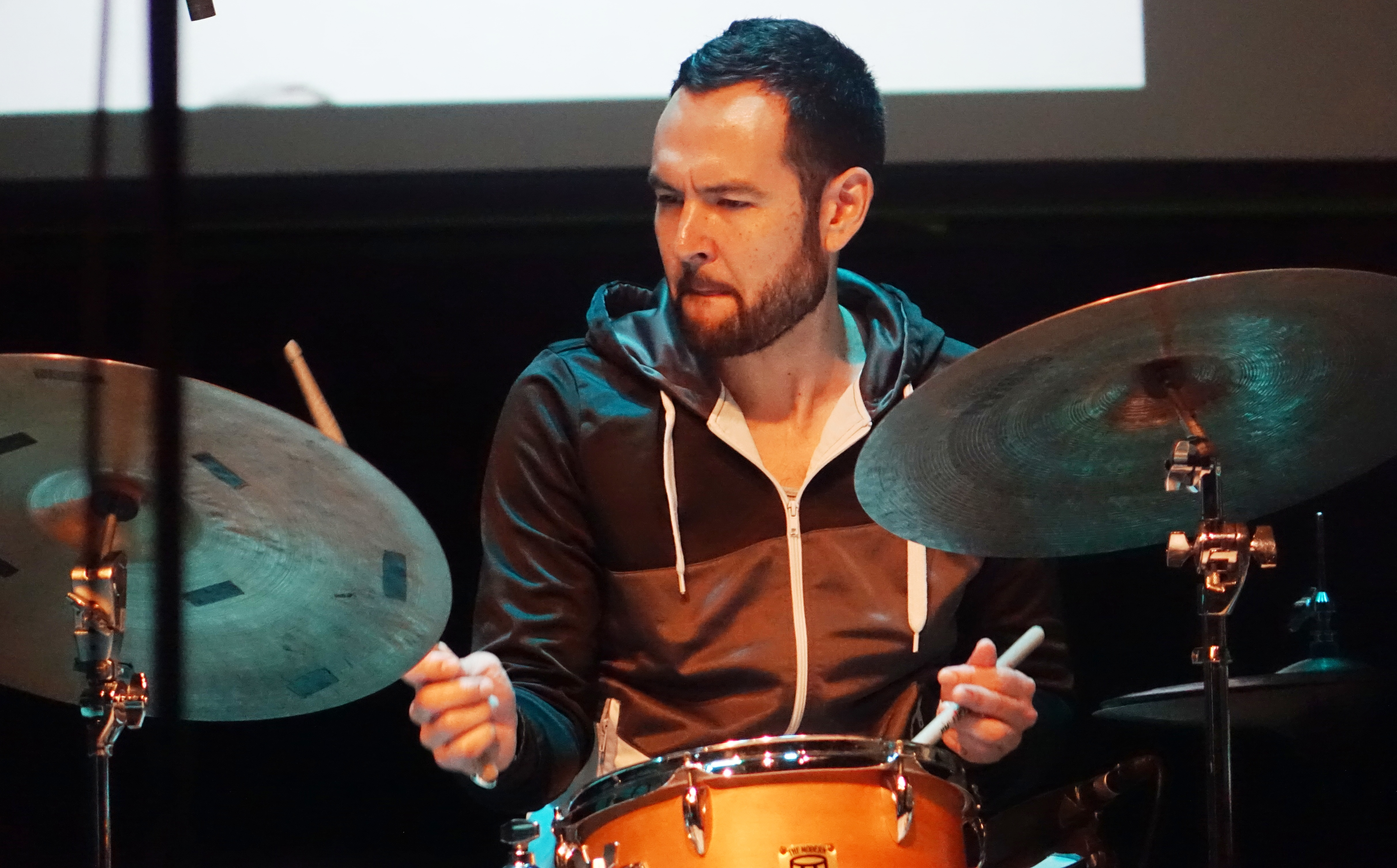 Tomas Fujiwara at the Vision Festival in Roulette, Brooklyn in June 2019