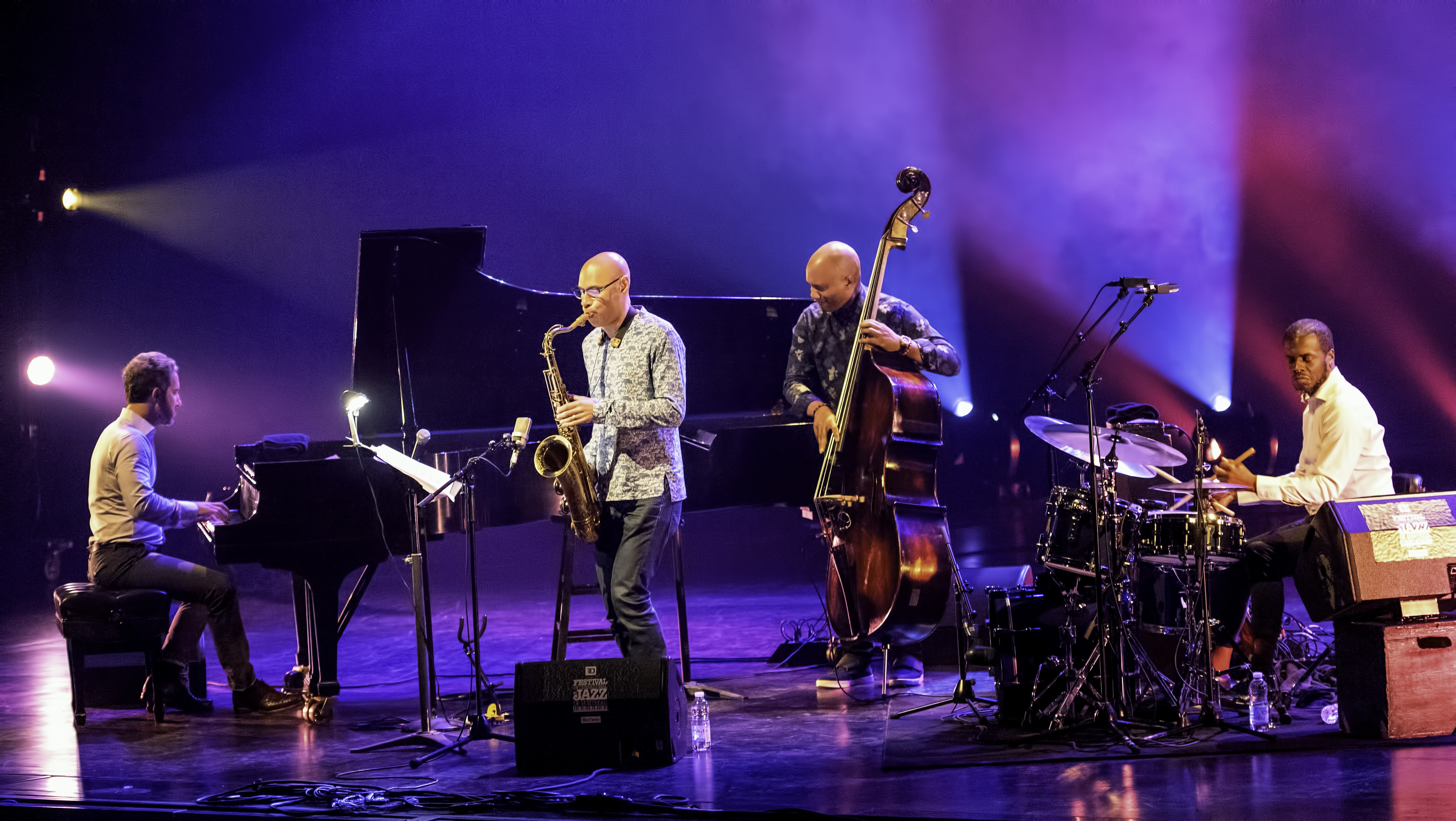 Aaron Goldberg, Joshua Redman, Ruben Rogers and Gregory Hutchinson with the Joshua Redman Quartet At The Montreal International Jazz Festival 2019