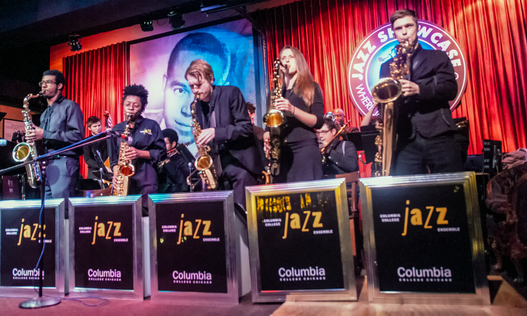 John Kelsie, Aisha Clark, Karolina Prus and Ian Buschman with Wycliffe Gordon and the Columbia College Jazz Ensemble at the Jazz Showcase in Chicago